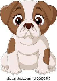 Cute little dog cartoon isolated on white background
