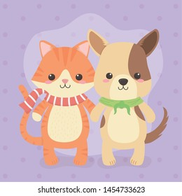 cute and little dog with cat characters