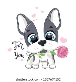 Cute little dog with flower. Happy Valentine's day clipart. - Shutterstock ID 1887674152