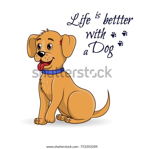 Cute Little Dog Happy Cartoon Sitting Stock Vector Royalty Free 753203284