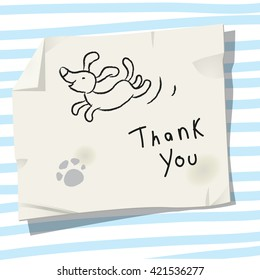 Cute little dog, pet, puppy thank you card. Doodle style, sketchy vector illustration.