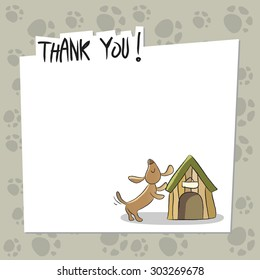 Cute little dog, puppy thank you card, with blank space for text insertion. Doodle style, sketchy vector illustration.