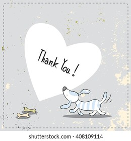 Cute little dog, puppy thank you card. Doodle style, sketchy vector illustration.