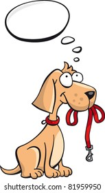 Cute little dog with a red leash and speech bubble