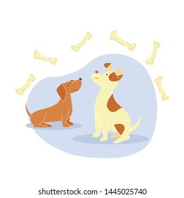 Cute Little Dogs, Puppies Flat Vector Illustration. Happy Dachshund and Smiling Spotted Pooch Cartoon Characters. Man Best Friends, Hungry Domestic Animals Surrounded with Bones, Canine Food