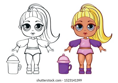 Cute little doll with big eyes. Outline Image for coloring cute doll. LOL Baby Dolls character.