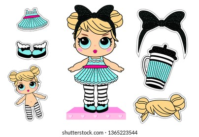 Cute little dolls with blonde hair big blue eyes. Paper sticky clothes for funny baby girl. Vector picture for decoration invite card. Lol surprise party decor. Bottle, dress, bow with glitter sparkle