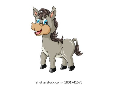 A cute little donkey with blue eyes laughing, design cartoon vector illustration