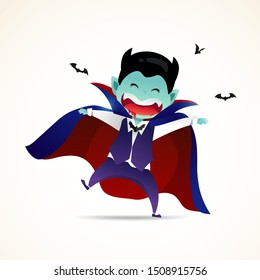A cute little Dracula. Halloween Demon Dracula kids costume character design vector on isolated background.