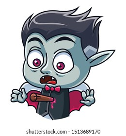 Cute little Dracula with a stake in the heart. Elements for you Halloween. Vector illustration in cartoon style. Isolated on a white background.
