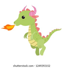 Cute little dragon blows fire. Funny cartoon character. Vector clip art illustration on white background.