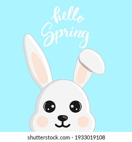 Cute little easter bunny. Character in cartoon style. Hello Spring greeting card