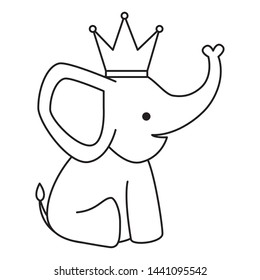 cute little elephant with crown character