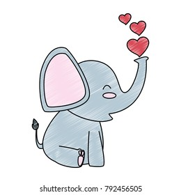 cute little elephant with hearts