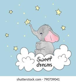 Cute little elephant on the cloud. Sweet dreams vector illustration.