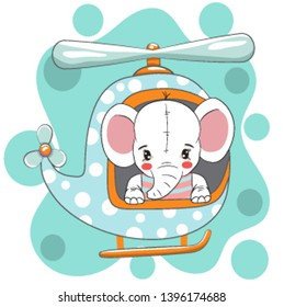Cute little elephant on helicopter