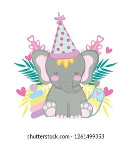 cute and little elephant with party hat and garden