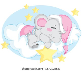 Cute little elephant sleeping on the cloud. Cartoon vector illustration for kids. Use for t shirt template, surface design, fashion wear, baby shower