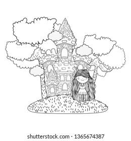 cute little fairy with castle in the field