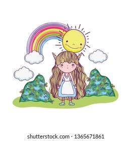 cute little fairy with rainbow in the landscape