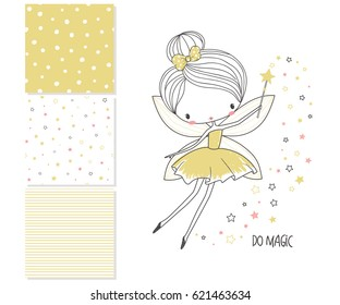 Cute little fairy. Surface design and 3 seamless patterns. Graphic for kid's clothing. Use for print, fashion kids wear