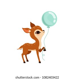 Cute little fawn character with balloon vector Illustration on a white background