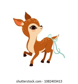 Cute little fawn character with a bow on the tail vector Illustration on a white background