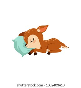 Cute little fawn character slaaping on a pillow vector Illustration on a white background