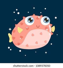 Cute little  fish  hedgehog vector illustration. Flat design