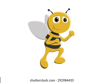 Cute little flying bee mascot vector