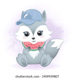 Cute little fox eating watermelon hand drawn cartoon illustration