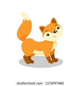 Cute little fox, funny pup cartoon character vector Illustration on a white background