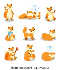 Cute little fox set, funny pup cartoon character in different situations vector Illustrations on a white background
