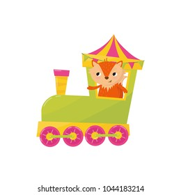 Cute little fox traveling by train. Cartoon animal character. Decorative element for postcard, poster of toy store or children s book. Colorful flat vector design