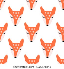 Cute Little Fox Vector Seamless Pattern