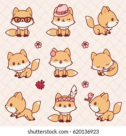 Cute little foxes in Kawaii style. Vector icons set.
