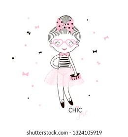 Cute little french girl in pink transparent skirt dotty bow in her hair heart shaped glasses and small handbag. Simple minimalistic vector doodle illustration for girls. Perfect for textile apparel t