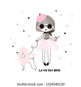Cute little french girl in pink transparent skirt beret round sunglasses with pink haired poodle dog and coffee. Life is beautiful phrase. Simple minimalistic vector doodle illustration for girls