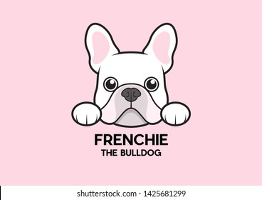 A cute little frenchie is stick to the edge of the table and waiting for some foods. The white-pink French Bulldog Logo. This is Frenchie Series in portrait photo style.