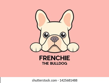A cute little frenchie is stick to the edge of the table and waiting for some foods. The brown-cream French Bulldog Logo. This is Frenchie Series in portrait photo style.