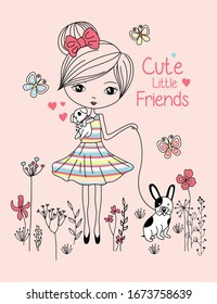 CUTE LITTLE FRIEND, GIRL  VECTOR GRAPHIC DESIGNS