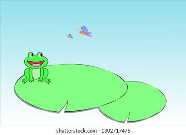cute little frog on the lotus leaf in the swamp is looking at the mother butterfly and the baby that is flying through,cartoon vector art and illustration.