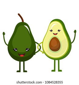 Cute little, funny, sweet avocado with smile face, waving hand, standing on two legs. Cut and whole fruit. Healthy food, diet, proper nutrition. Modern vector flat cartoon image isolated on white back