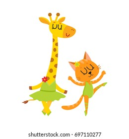 Cute little giraffe and cat, kitten characters dancing ballet together, cartoon vector illustration isolated on white background. Little cat, kitten and giraffe ballet dancers, ballerinas