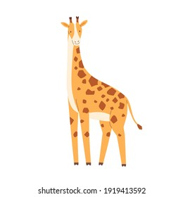 Cute little giraffe isolated on white background. Funny African animal. Childish character. Colored flat cartoon vector illustration