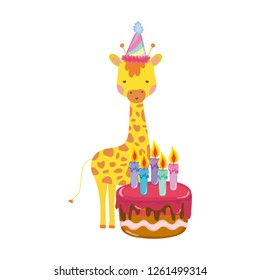 cute and little giraffe with party hat and sweet cake