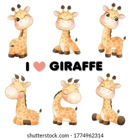 Cute little giraffe poses with watercolor illustration