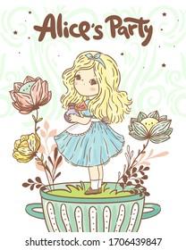 Cute little girl Alice/ wonderland collection/ tea party