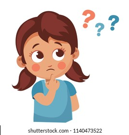 Cute little girl asking question. Cartoon vector illustration