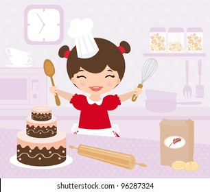 Cute little girl baking in the kitchen